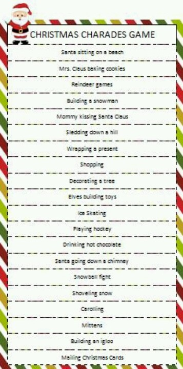 Christmas Charades Game Ideas