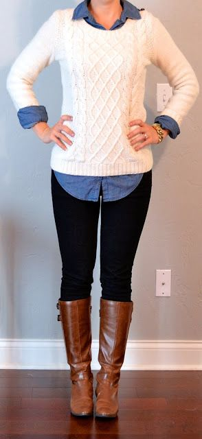 Perfect for fall and oh so simple. You need 4 things to pull this outfit off. Button up shirt, sweater (long enough to cover your bum), leggings and riding boots. So cute!! - Julie www.momfabulous.com