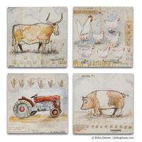 French Country Kitchen Wall Art Set of 4, Cow, Chicken ...