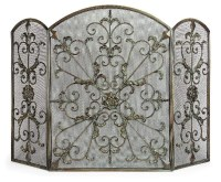 """Antique Silver Fireplace Screen 
