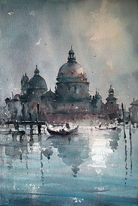 Watercolor, Santa Maria della Salute, 38x56 cm - Dusan Djukaric