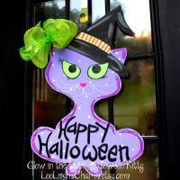 Door Hanger: Halloween, Cat Decoration,   wreaths   Pinterest