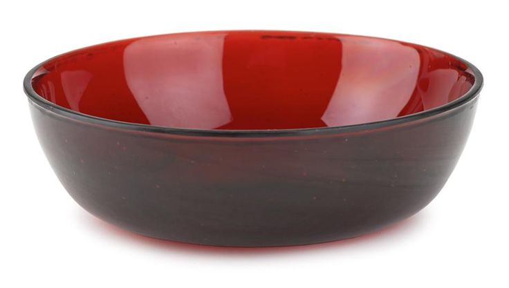 Chinese transparent ruby red glass bowl, Tongzhi mark
