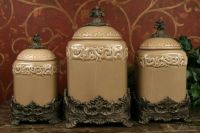 Tuscan Drake Design Taupe Kitchen Canisters S/3