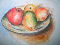 Inspired Cezanne watercolor fruit bowl. | watercolor ...