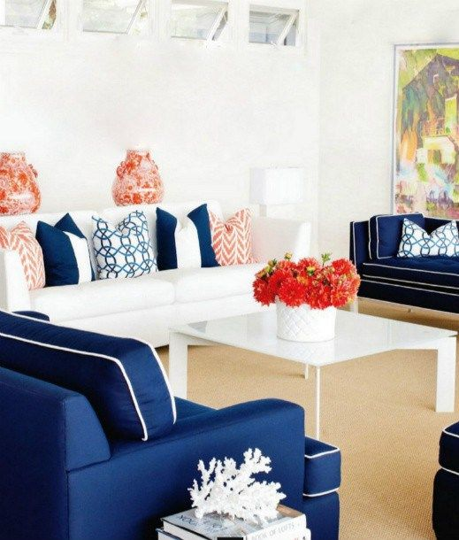 coral and navy living room