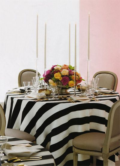 This picture is what started my wedding color theme (black, white stripes and gold)