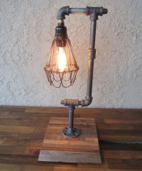 Edison Trouble Light Desk Lamp Vertical, Pipe, Reclaimed ...