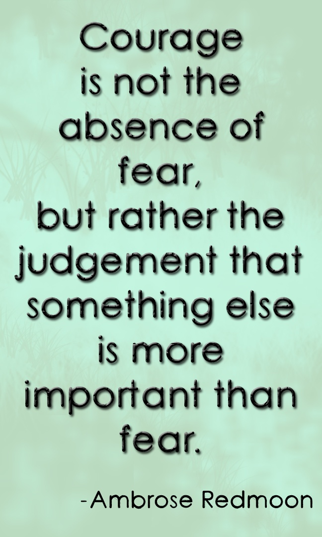 """Courage is not the absence of fear, but rather the judgement that something else is more important than fear."" ~Ambrose Redmoon"
