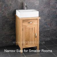 Solid Oak Ohio Narrow Bathroom Sink Cabinet with Ceramic ...