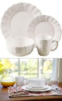 16-Pc Bianca Fleur-de-Lis Dinnerware Set