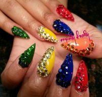 Colorful Rhinestone Stiletto Nails