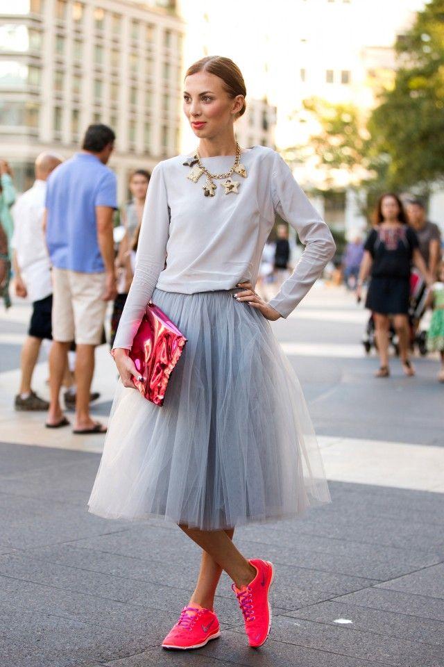 Neon kicks and a tulle skirt.