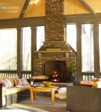 Screened in porch with fireplace. | For the Home | Pinterest