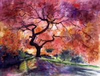 "Original Watercolor Print ""JAPANESE GARDEN"" Trees Fine Art"