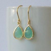 Pastel Green Mint Crystal Drop Earrings