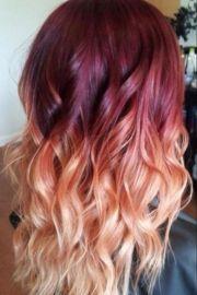 red violet peach ombre hair auburn