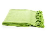 Pom-Pom Cotton Throw, Lime Green