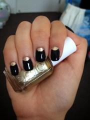 black and gold moon nails