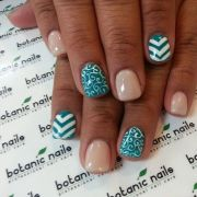 teal nude white nails with accent