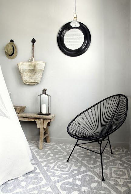 Source: My Scandinavian Home  Perfect combination - the Acapulco Chair and patterned mosaic tiles. Ann Sacks do an amazing range of mosaics as do Made a Mano. Check them out!