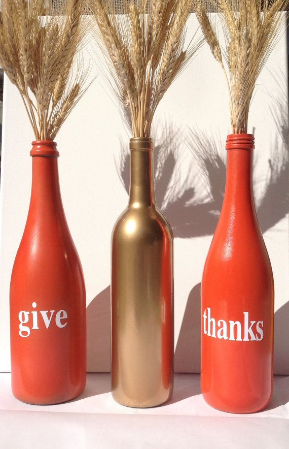 Fall decoration, thanksgiving decor, fall, Give Thanks painted wine bottles. Great fall decor by SEVENTHandJ, $16.00