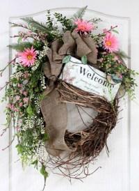 Country Welcome Wreath, Front Door Wreath, Spring Wreath ...
