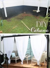 DIY outdoor cabana canopy with curtains | Porches and ...