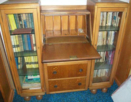 Antique Light Oak Bookcase Combination Desk