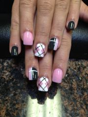 plaid nails makeup hair