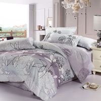 Fancy Floral Collection 4-piece Gray-Purple Cotton Dorm ...