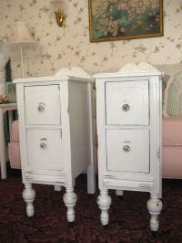 Pair Vintage White Shabby Chic Nightstands End Tables ...