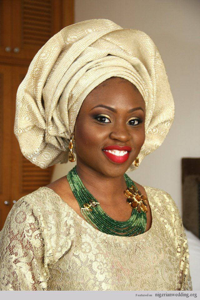 Nigerian wedding champagne and gold aso-oke make-up and gele by Banke Meshida 2  #Nigerian, #headgear, #Naija, #Gere, #tradation, #women, #NigerianEngagement