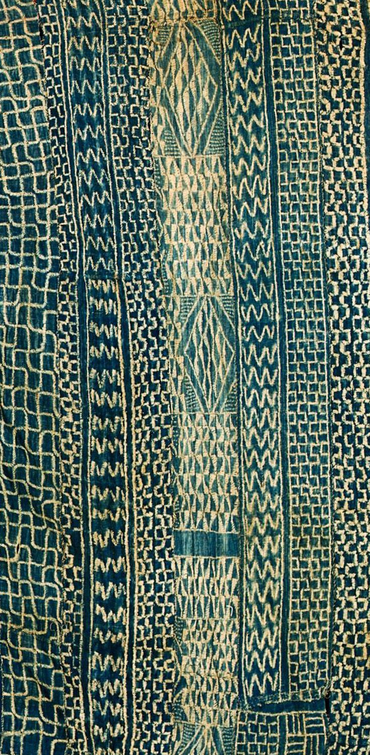 Africa | Detail from a Chief's Ndop cloth from Cameroon | Cotton; with indigo abstract patterns, woven in small strips and sewn together