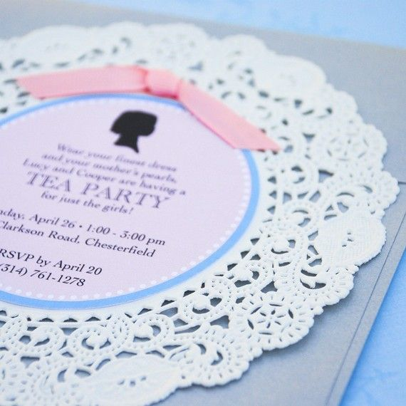 Silhouette and Doily Tea Party Invitation  Design by beyonddesign, for Ivy's 2nd birthday @Georgina Stevens