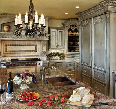 old world french country kitchen Love the French antiqued gray-blue | French Country