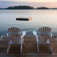 Muskoka chairs on the lake   Relax, Muskoka Style   Pinterest