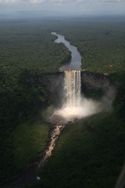 Kaietieur Falls (Guyana) Five times higher than Niagara Falls--One of the most powerful waterfalls in the world.