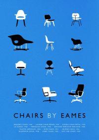 Eames poster art print Mid Century Modern Chair ...