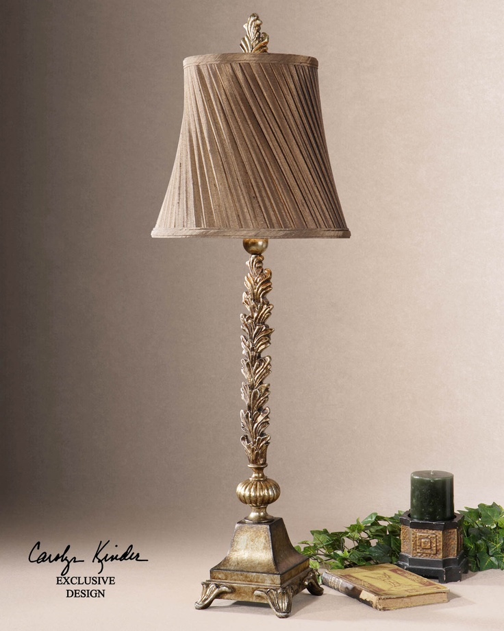 Laurent French Country Leaf Design Buffet Table Lamp