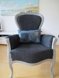 Denim chair. Denim pillow. | Redone furniture | Pinterest