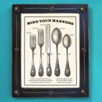 Kitchen Art Print Mind Your Manners Vintage Black and ...