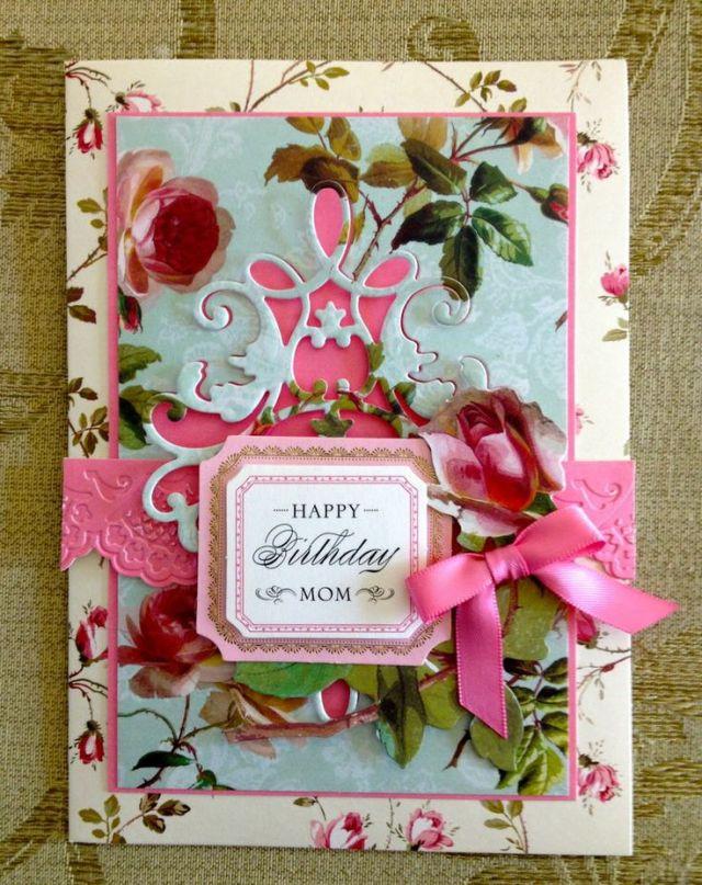 Handmade anna griffin vintage happy birthday mom