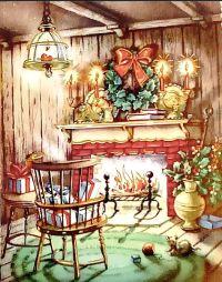 Fireplace - Vintage Xmas cards | Christmas Joy III | Pinterest