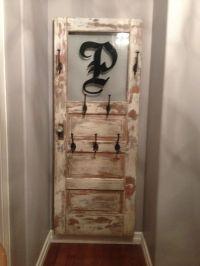 Antique door coat rack | flower pots | Pinterest