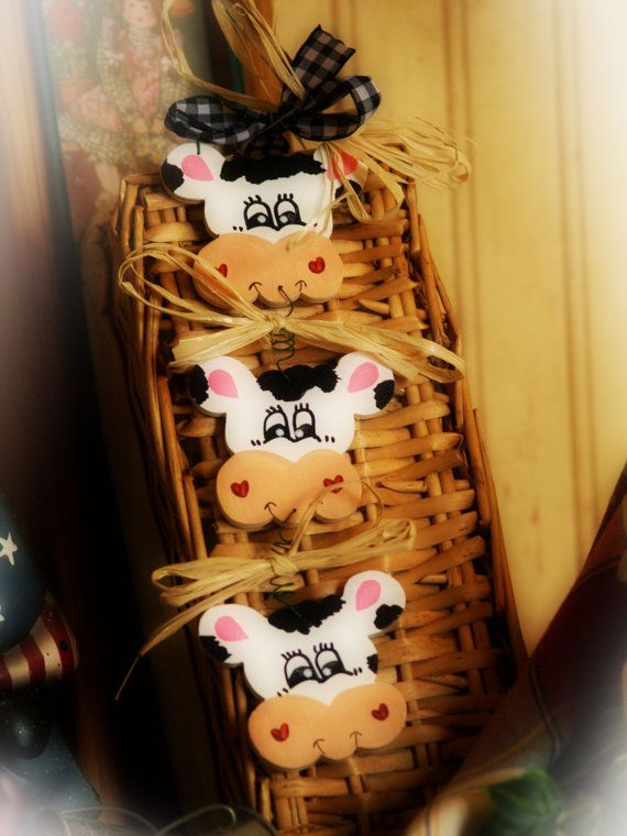 Cows Kitchen Country Decor Cow Wall Sign Whimsical Farm Trio