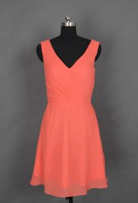 Coral V-neck Short Bridesmaid Dress/Prom Dress