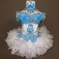 New National Pageant Dress Glitz OFF SHOULDER , White Blue ...