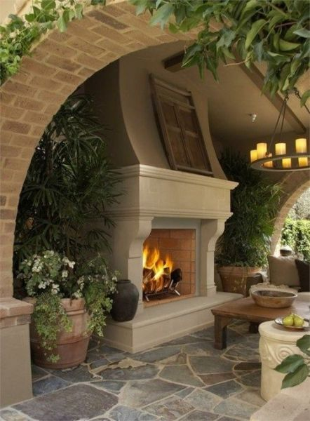 outdoor living space with fireplace outdoor fireplace outdoor-spaces | Outdoor Living | Pinterest