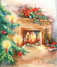 Vintage Merry Christmas Fireplace Card